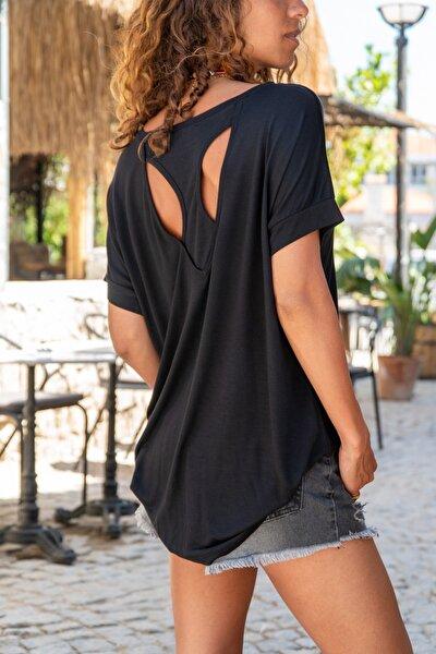 Kadın Siyah Sırtı Atlet Detaylı Salaş T-Shirt GK-JR220
