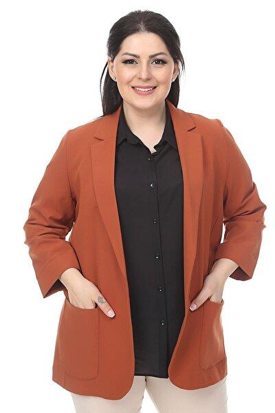 Kadın Kahverengi Cep Detaylı Blazer Ceket