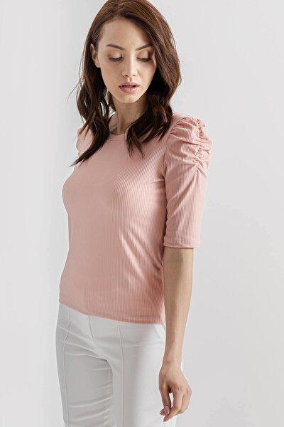 Kadın Pembe Kolu Büzgülü Bluz