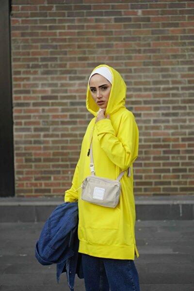 Kadın Sarı Kapişonlu Düz Renk Sweatshirt