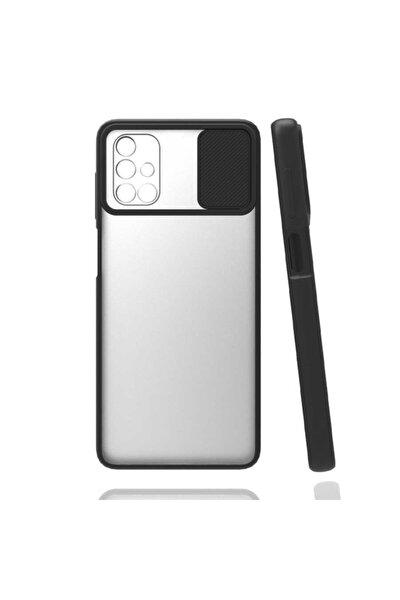 Samsung Galaxy M51 Kılıf Sürgülü Lens Ve Kamera Korumali Renkli Kenar Şeffaf Mat Silikon Kapak
