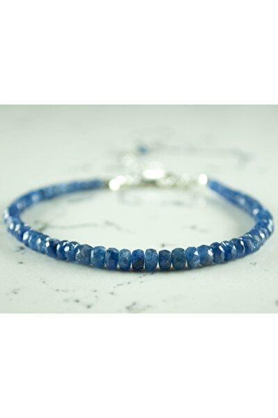 Mavi Safir Doğal Taş Gümüş Bileklik