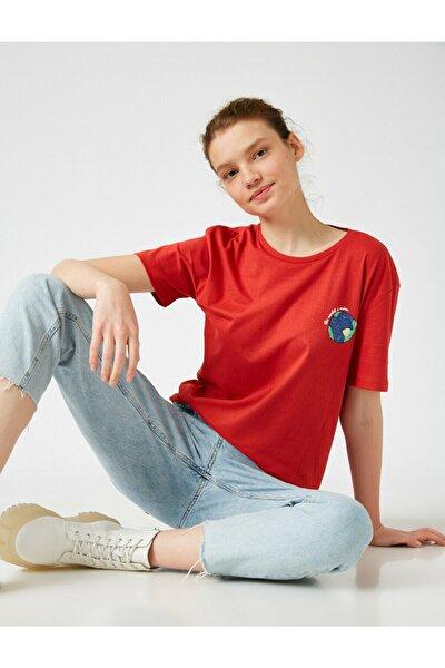 Kadın Kırmızı Pamuklu Bisiklet Yaka Baskılı T-Shirt