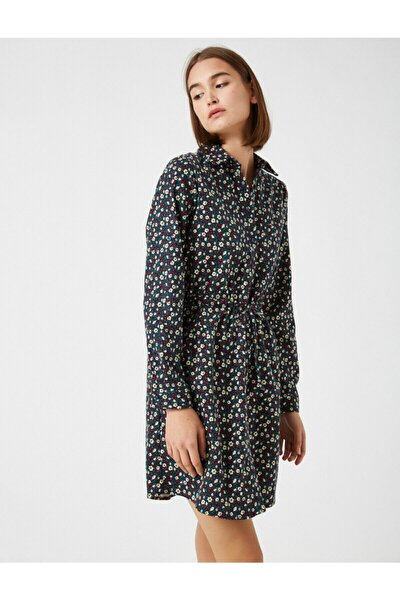 Kadın Lacivert Pamuklı Çiçekli Kısa Elbise