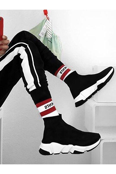 Kadın Taban Beyaz Çoraplı Yüksek Taban Sneakers Ayakkabı