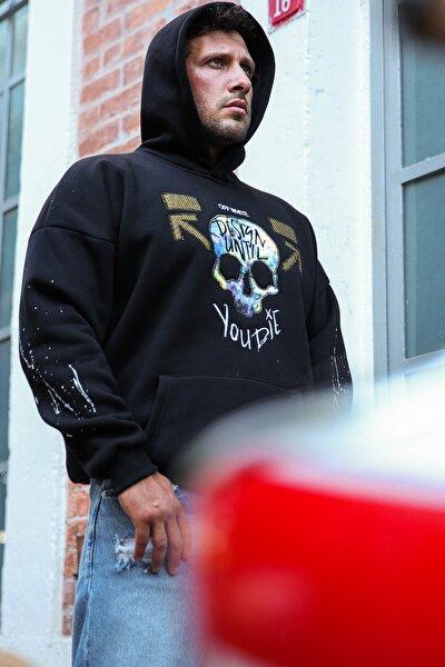 Siyah Önü Arkası Baskılı Sweatshirt 1KXE8-44323-02