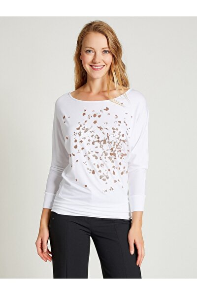 Kadın Beyaz Baskılı Uzun Kollu Bluz 9113-0008
