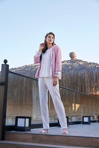 Kadın Pembe Peluş Hırkalı Üçlü Pijama Set Jarpierre 332