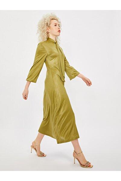 Kadın Yeşil Yakası Bağlamalı Uzun Kol Midi Elbise