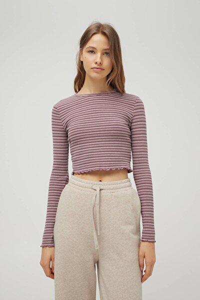 Kadın Renkli Çizgili Kare Dokulu T-Shirt 04240302