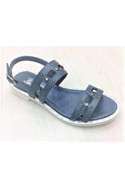 Kadın Mavi Hakiki Deri Sandalet