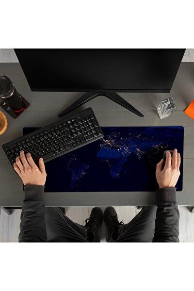 Gece Dünya Haritası Baskılı 70x30 Büyük Boy Mousepad - Mouse pad - Fare Altlığı