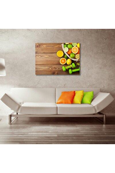 Diyet Spor Meyve Tabağı ve Dambıllar Kanvas Tablo 50x70 cm