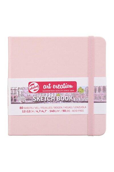 Pastel Pembe Sketchbook Sert Kapak Eskiz Çizim Defteri 12x12 cm 140 gr 80 Yp
