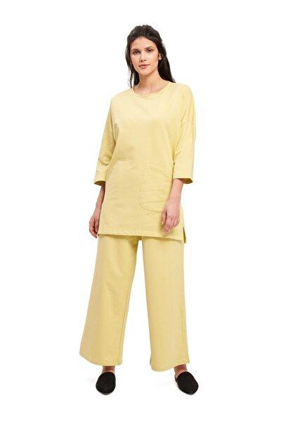 Kadın Sarı İki İplik Cepli Pijama Takımı