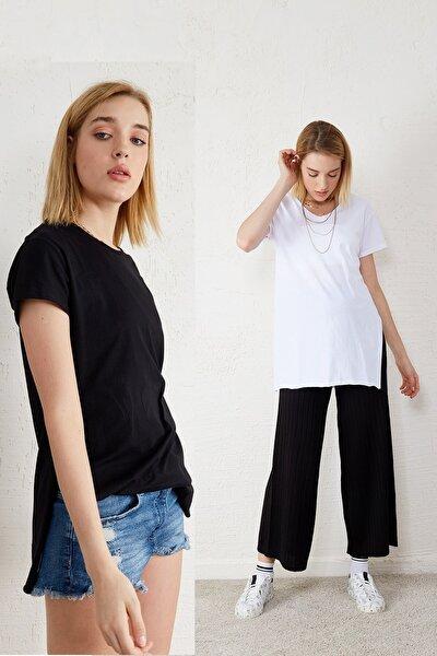 Kadın Siyah - Beyaz 2'li Paket V Yaka Kısa Kol Yırtmaçlı T-shirt