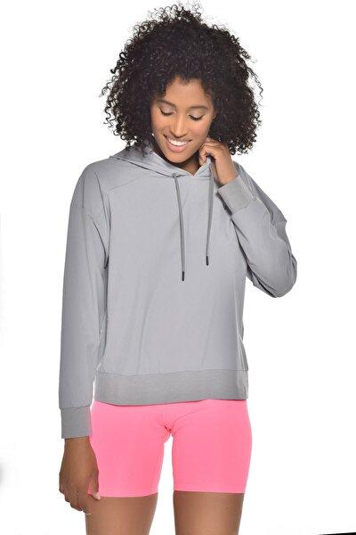 Gri Kadın Uzun Kollu Ince Sweatshirt Gw-9225