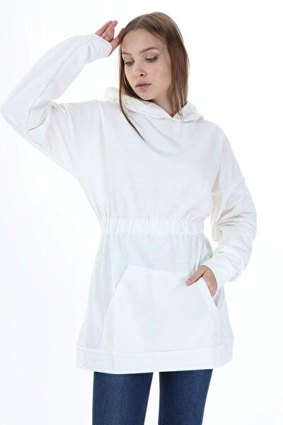 Kadın Bel Lastikli Tunik Beyaz