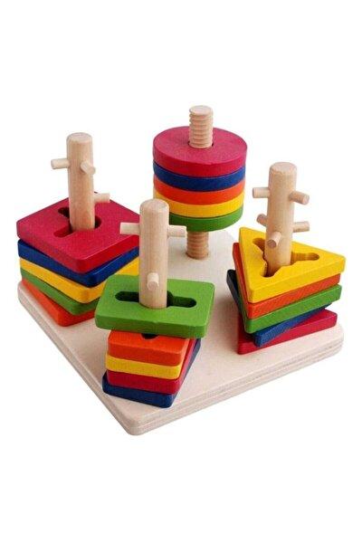 Woddywood Eğitici Ahşap Oyuncak 4'lü Geometrik Bultak Vidalama Oyunu Bultak