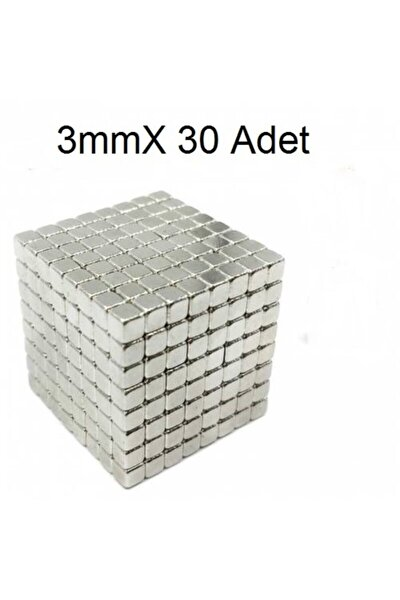 30 Adet 3mm X 3mm X 3mm Güçlü Küp Neodyum Mıknatıs