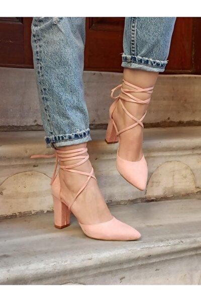 Pembe Kadın Süet Ipli Topuklu Ayakkabı
