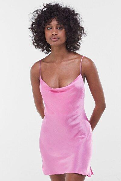 Kadın Fuşya Saten Mini Slip Elbise 00581168