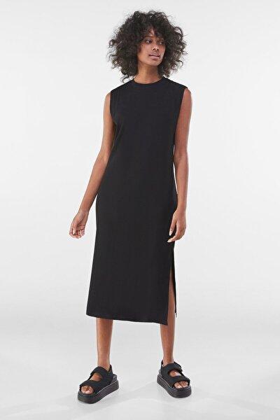 Kadın Siyah Fitilli Midi Elbise 00481019