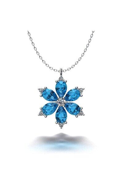 Kadın Açık Mavi Taşlı Gümüş Kardelen Kolye