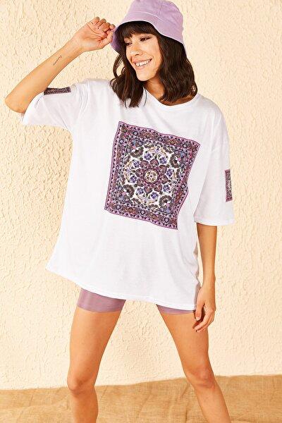 Kadın Desenli Oversize Tshirt