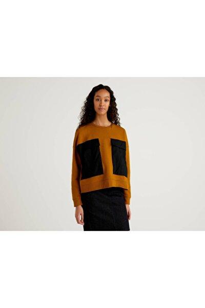 Kadın Kahverengi Takma Cepli Sweatshirt