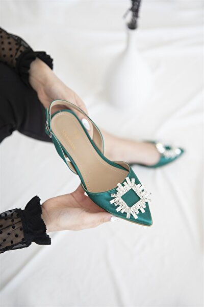 Kadın Yeşil Loden Topuklu Taş Detay Saten Sandalet