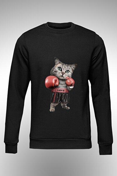 Boksör Kedi Baskılı Sweat.