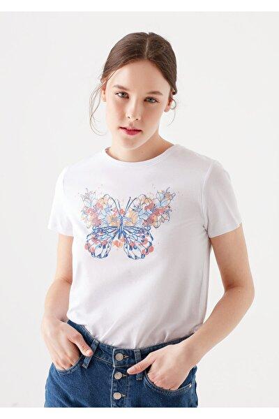 Kadın Beyaz Kelebek Baskılı T-Shirt