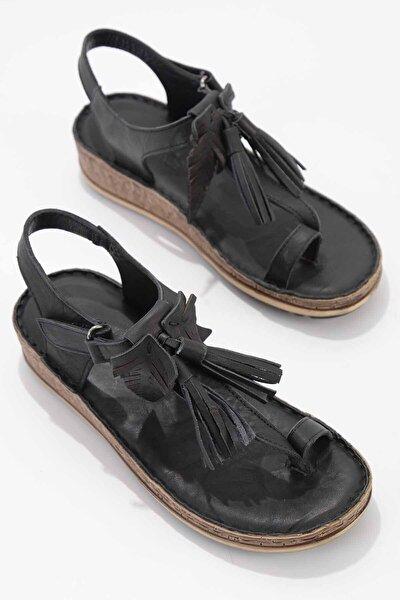 Hakiki Deri Siyah Kadın Sandalet K05809187103
