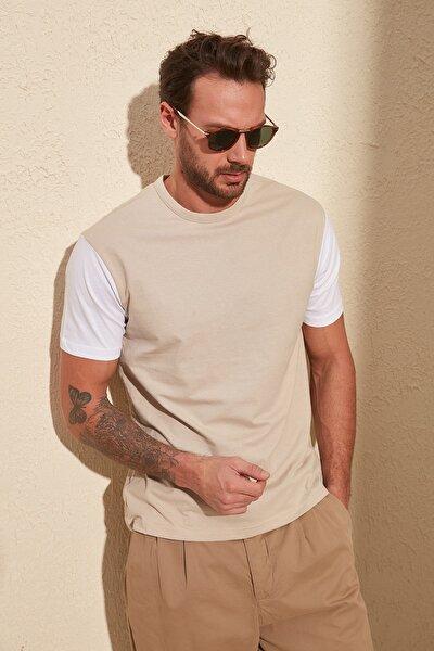 Beyaz Erkek Bisiklet Yaka Regular Fit T-Shirt TMNSS20TS0004