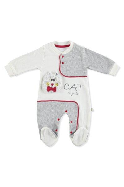 Unisex Bebek Gri Kedi Baskılı Uzun Kollu Tulum