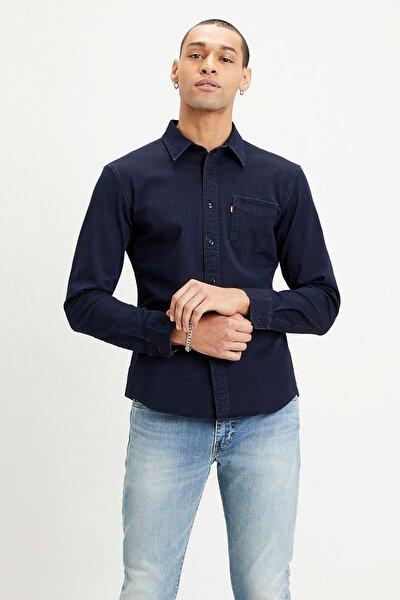 Erkek  Lavivert Slim Fit Düz Yaka Pamuklu Gömlek 866190018