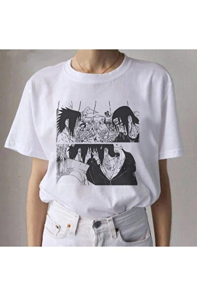 Unisex Beyaz Itachi Naruto Anime T-shirt