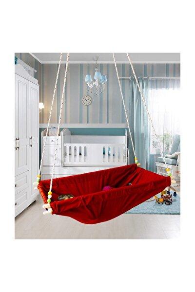 Kırmızı Ahşap Yaylı Zıpzıp Hamak Beşik Hoppala Tavana Asılan Bebek Yatağı Iskota Halatlı Salıncak