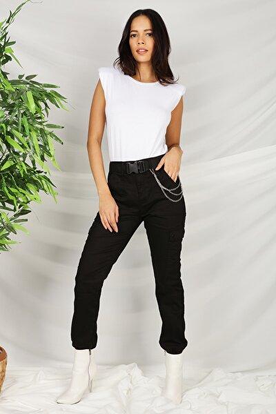 Kadın Siyah Kemerli Zincir Detaylı Paçası Lastikli Kargo Pantolon