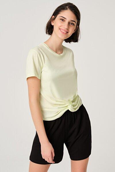 Kadın Mint Yeşili Modal Bağlamalı Crop Basıc T-shırt
