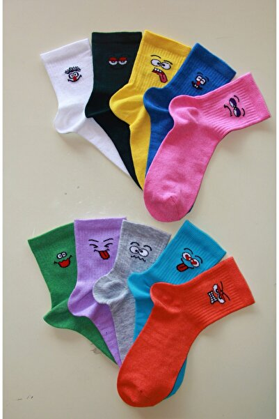 Emoji Desenli Renkli Kolej Çorabı 10 Çift
