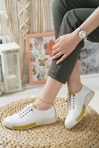 Kadın Beyaz Hakiki Deri Ortopedik Ayakkabı