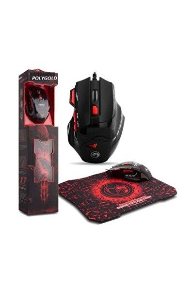 X7 Işıklı Oyuncu Mouse + Mousepad Kırmızı