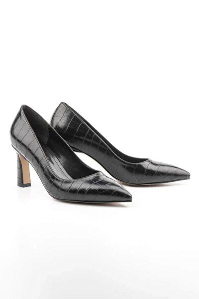 Kadın Siyah Kroko Sitiletto Ayakkabı