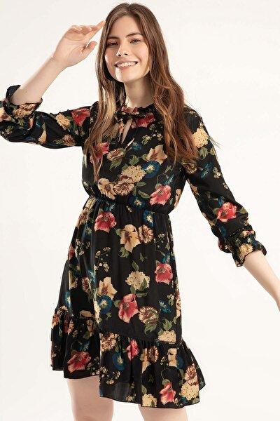 Kadın Çiçekli Mini Elbise Y20s110-1904-1