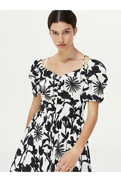Kadın Beyaz Çiçek Desen Elbise