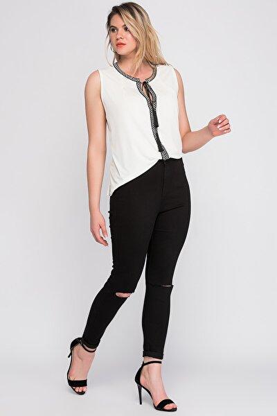 Kadın Siyah Dizi Yırtık Detaylı Yüksek Bel Pantolon 65N23164