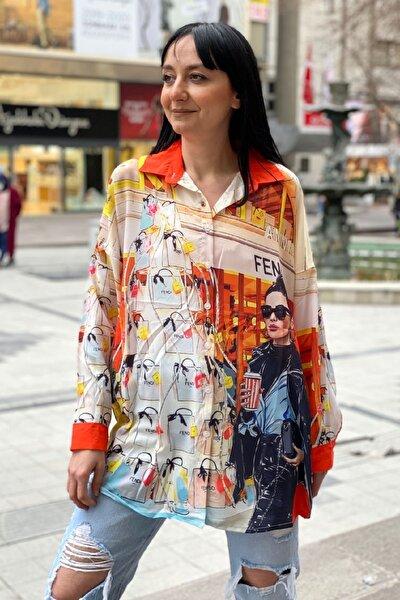 Dijital Baskı Uzun Kol Şifon Gömlek