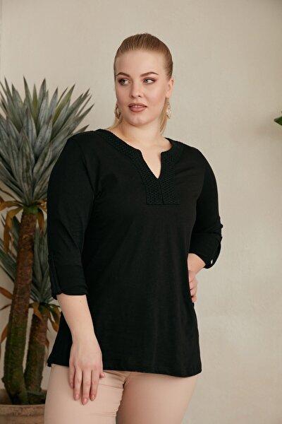 Büyük Beden Yaka Ve Kol Detaylı Bluz - 4088 Siyah